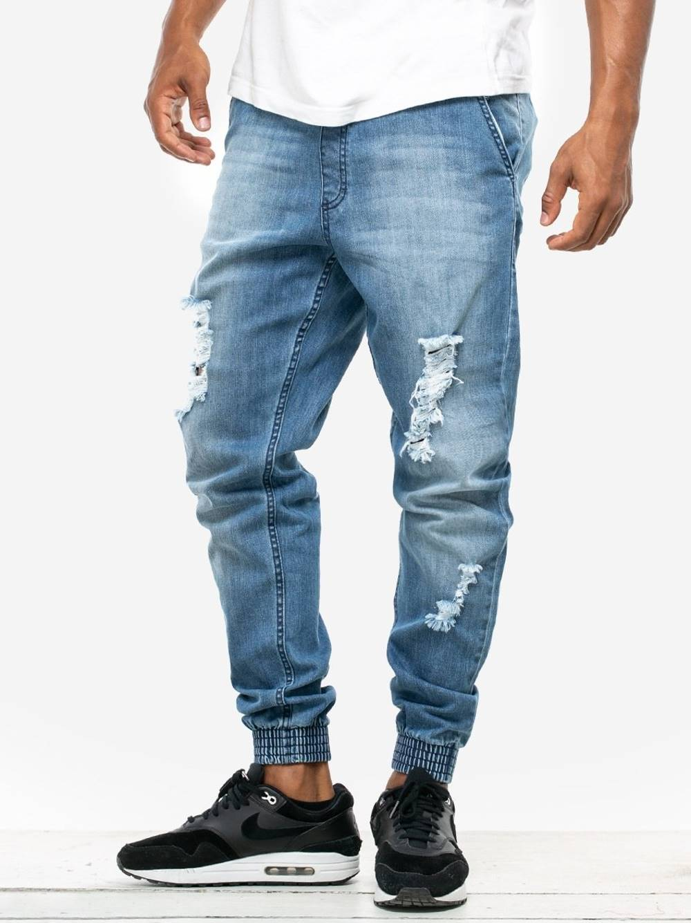 spodnie PREMIUM DESTROYED STRETCH JOGGER SLIM LIGHT BLUE
