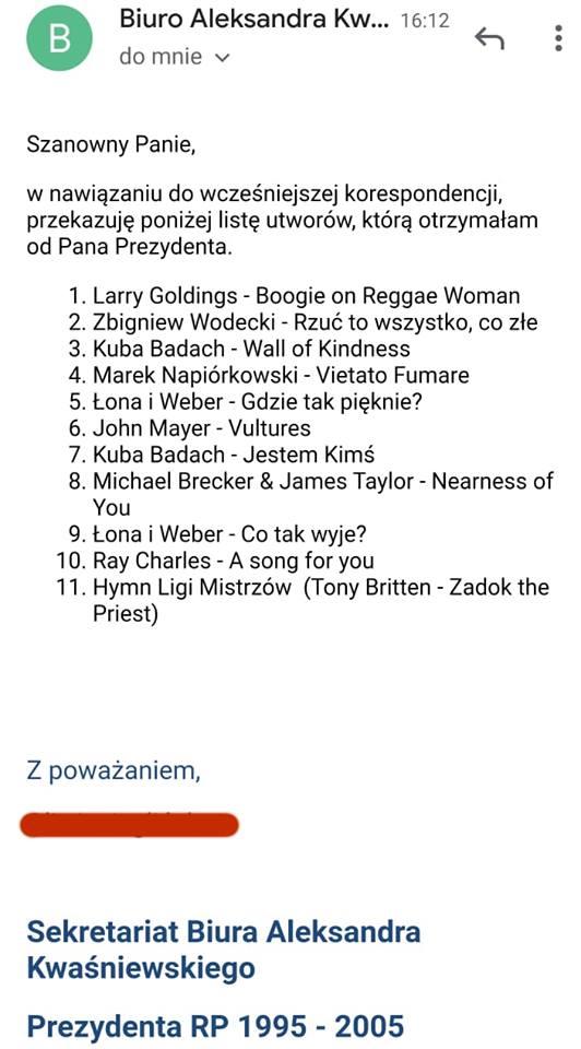 prezydent kwasniewski playlista